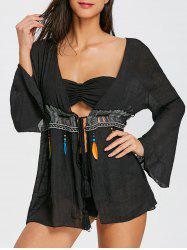 Перо Fringed Bell Sleeve Cover Up -