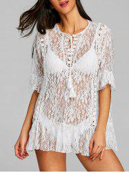 Lace Flounce See Thru Cover Up -