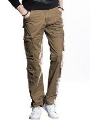 Straight Cut Cargo Pants with Button Flap Pockets -