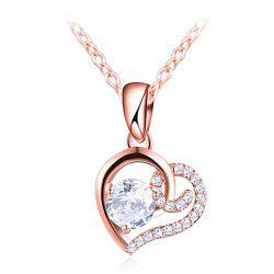 Rhinestone Valentine's Day Heart Necklace -