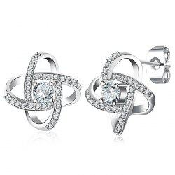 Simple Rhinestone Cross Stud Earrings -