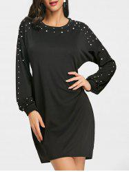 Faux Pearl Embellished Long Sleeve Dress -