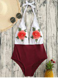 Backless Flower Applique One Piece Swimsuit -