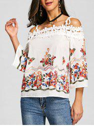Applique Embroidered Open Shoulder Blouse -