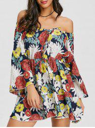 Flare Sleeve Print Off Shoulder Dress -