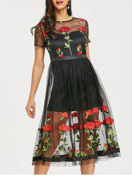 See Thru Embroidery Floral Tulle Dress -