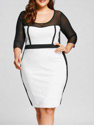 Mesh Panel Plus Size OL Bodycon Dress -
