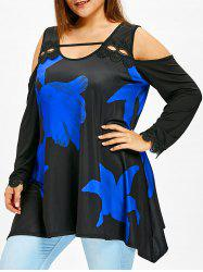 Flower Print Plus Size Cold Shoulder T-shirt -