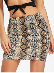 Snake Print Mini Bodycon Skirt -