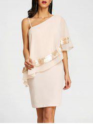 Sequins One Shoulder Overlay Evening Dress -