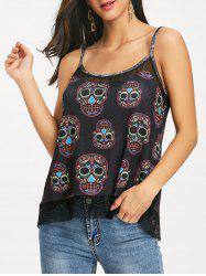 Tribal Skulls Print Slip Top -