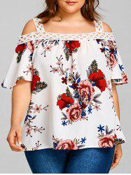 Plus Size Floral Print Cold Shoulder Blouse -