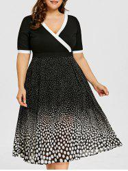Plus Size Polka Dot Flare Midi Dress -