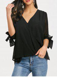 Three Quarter Sleeve Surplice Blouse -