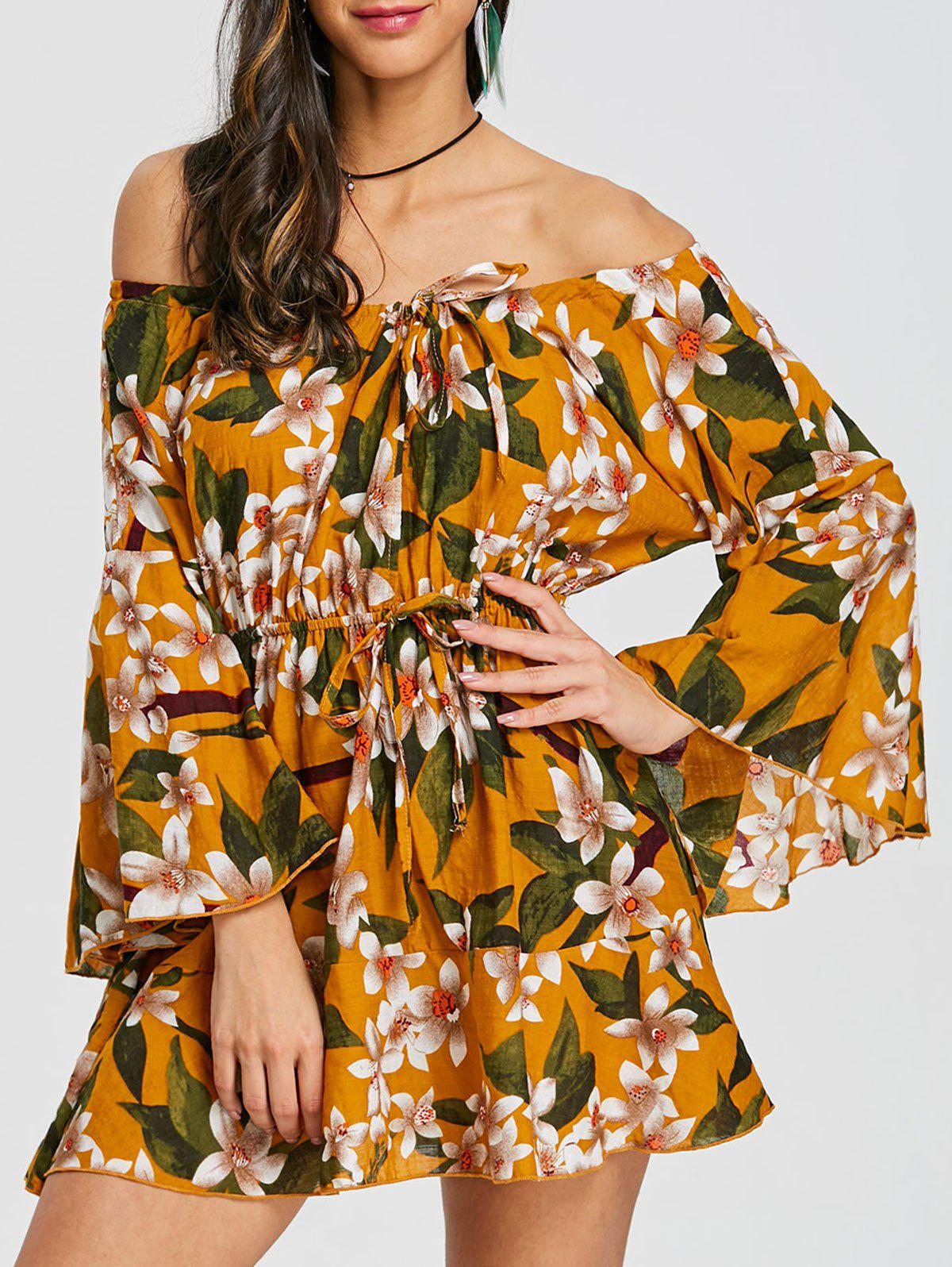 Chic Flare Sleeve Print Off Shoulder Dress