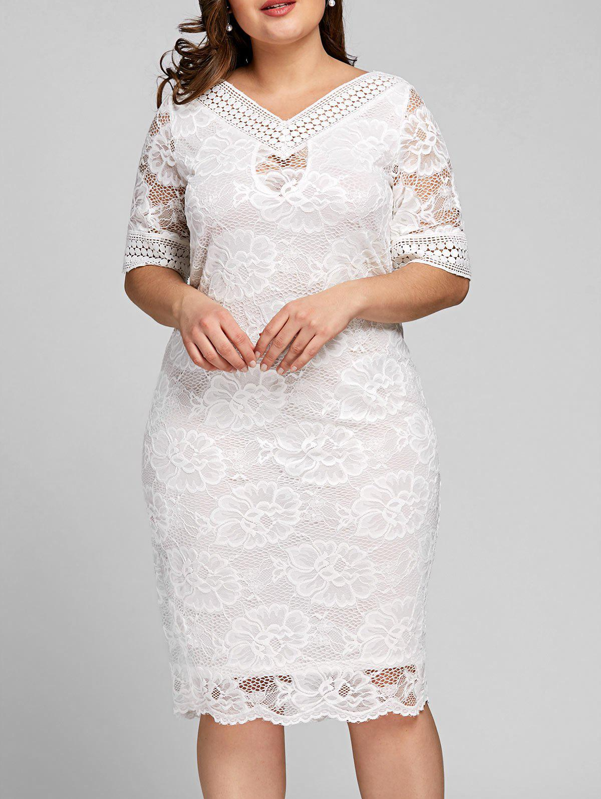 32% OFF] Plus Size V Neck Midi Lace Dress | Rosegal