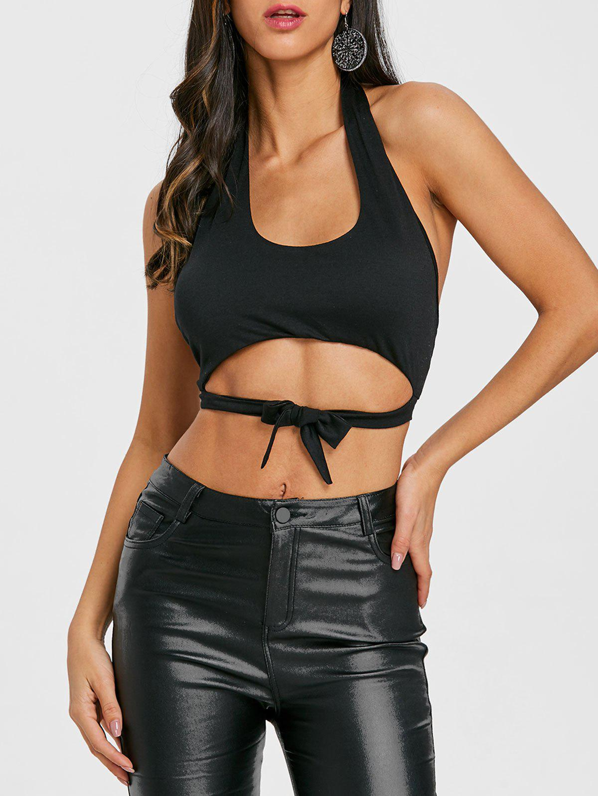 Online Tie Up Open Back Halter Crop Top