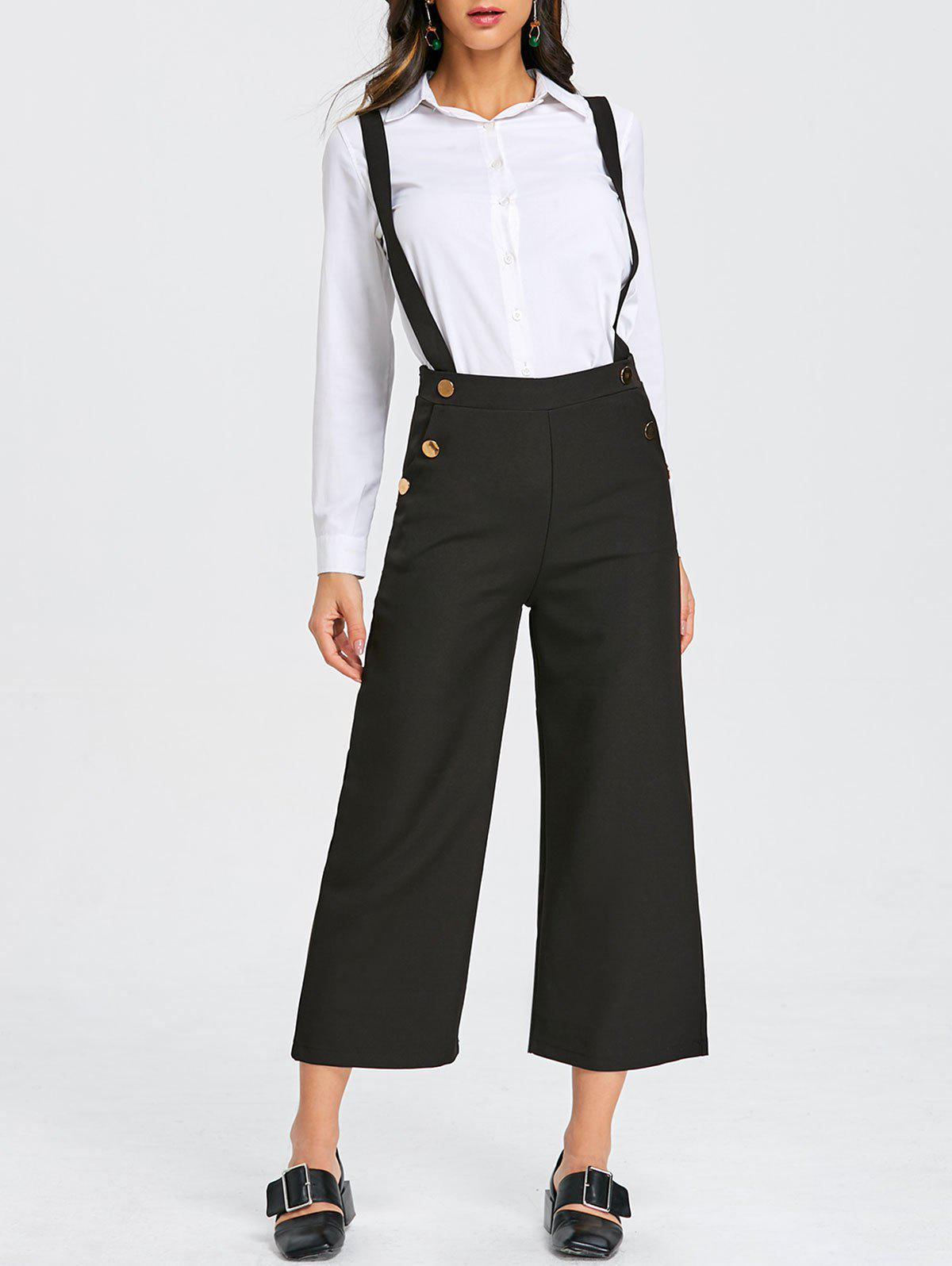 Trendy Criss Cross Ninth Wide Leg Suspender Pants