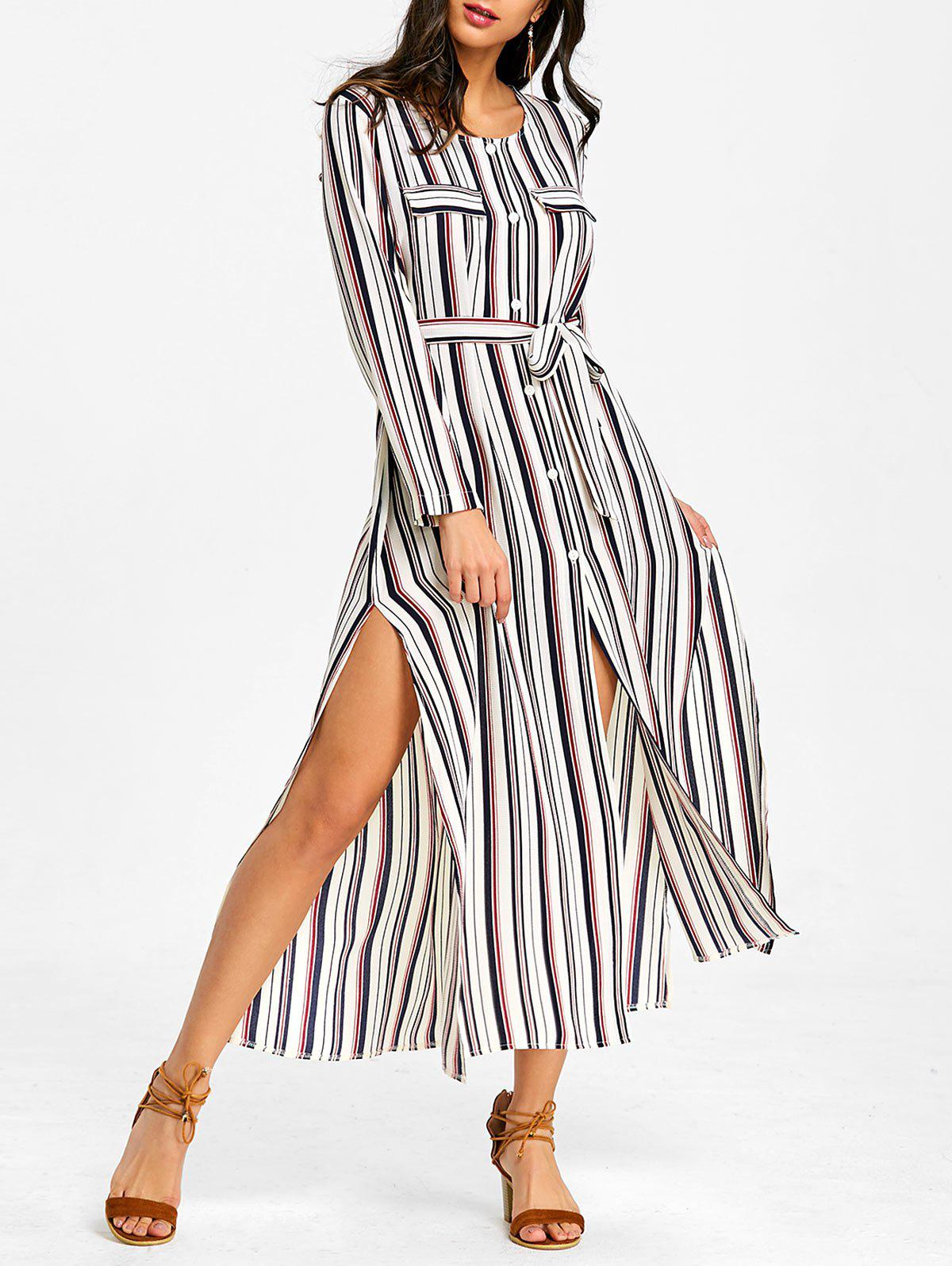 Fancy Button Up Striped Casual Maxi Dress