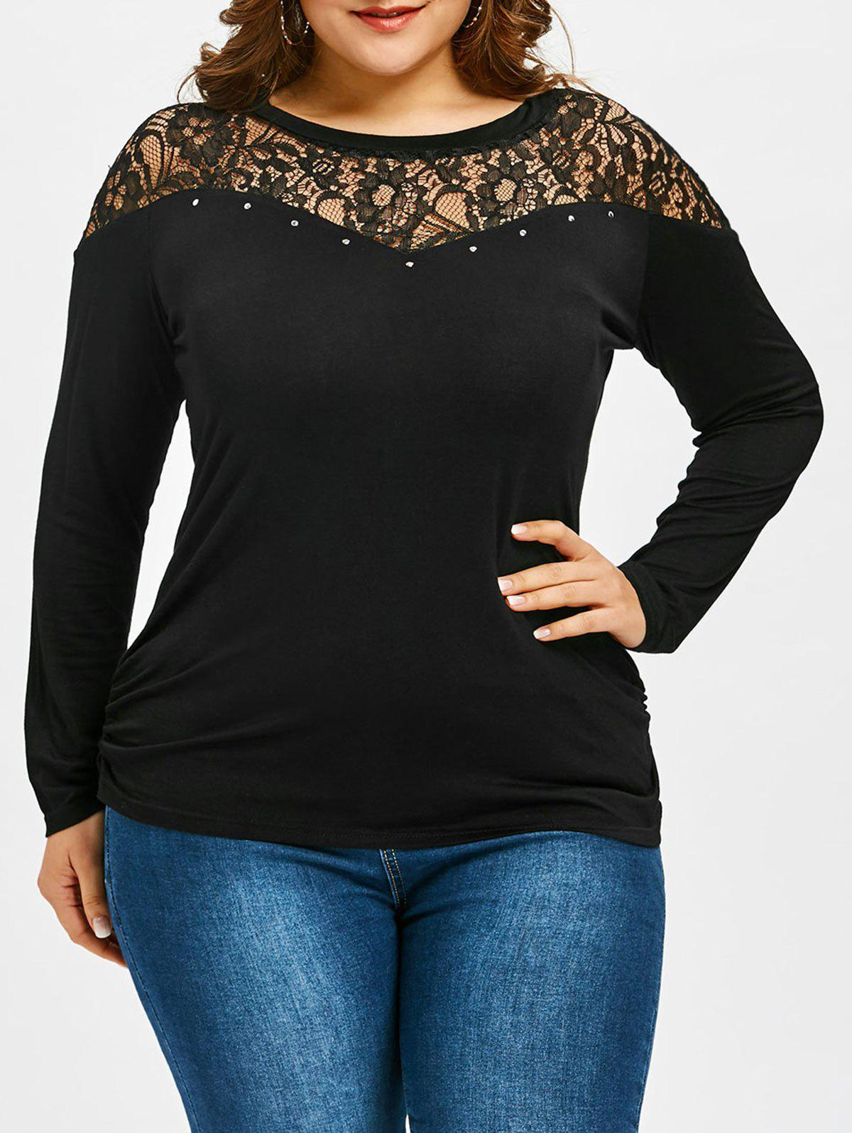 Outfits Lace Panel Plus Size Long Sleeve T-shirt