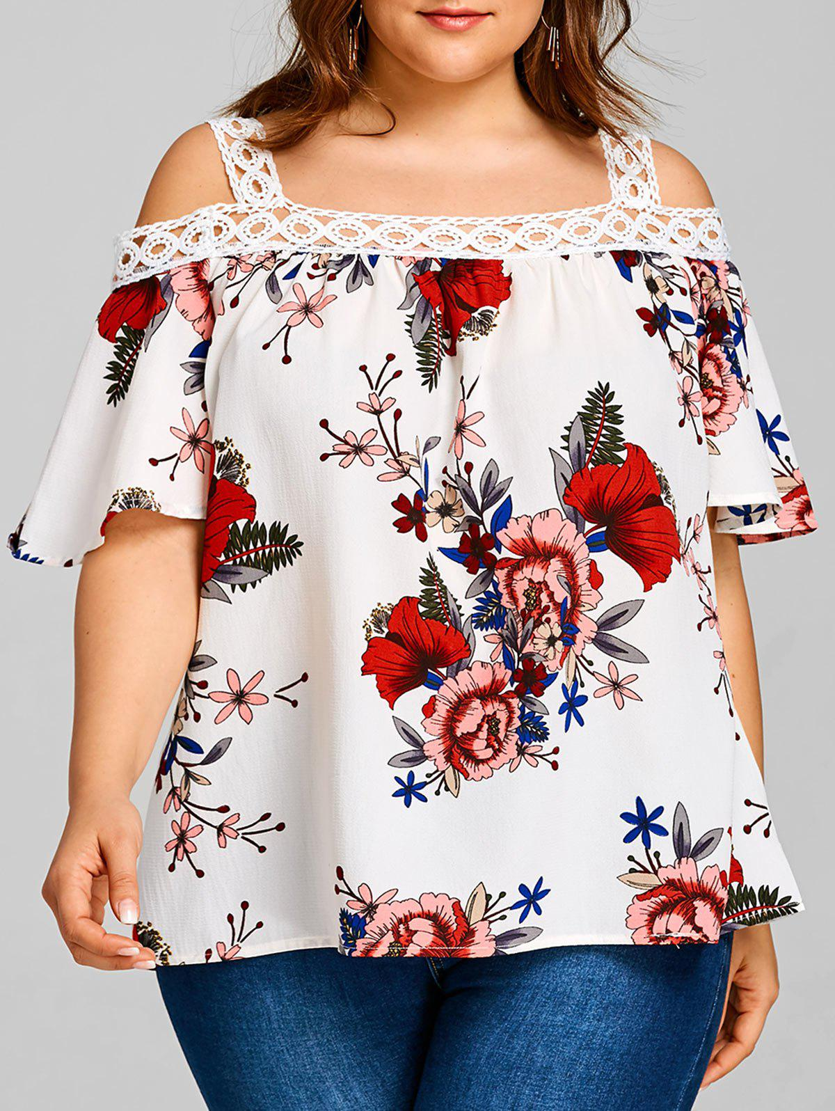 Best Plus Size Floral Print Cold Shoulder Blouse