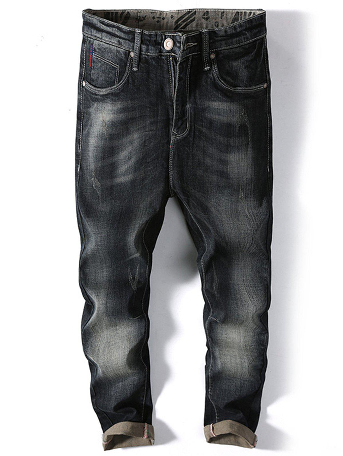 Online Straight Leg Faded Jeans