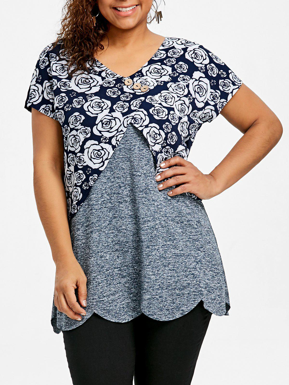 Sale Plus Size Overlay Floral Scalloped Edge T-shirt