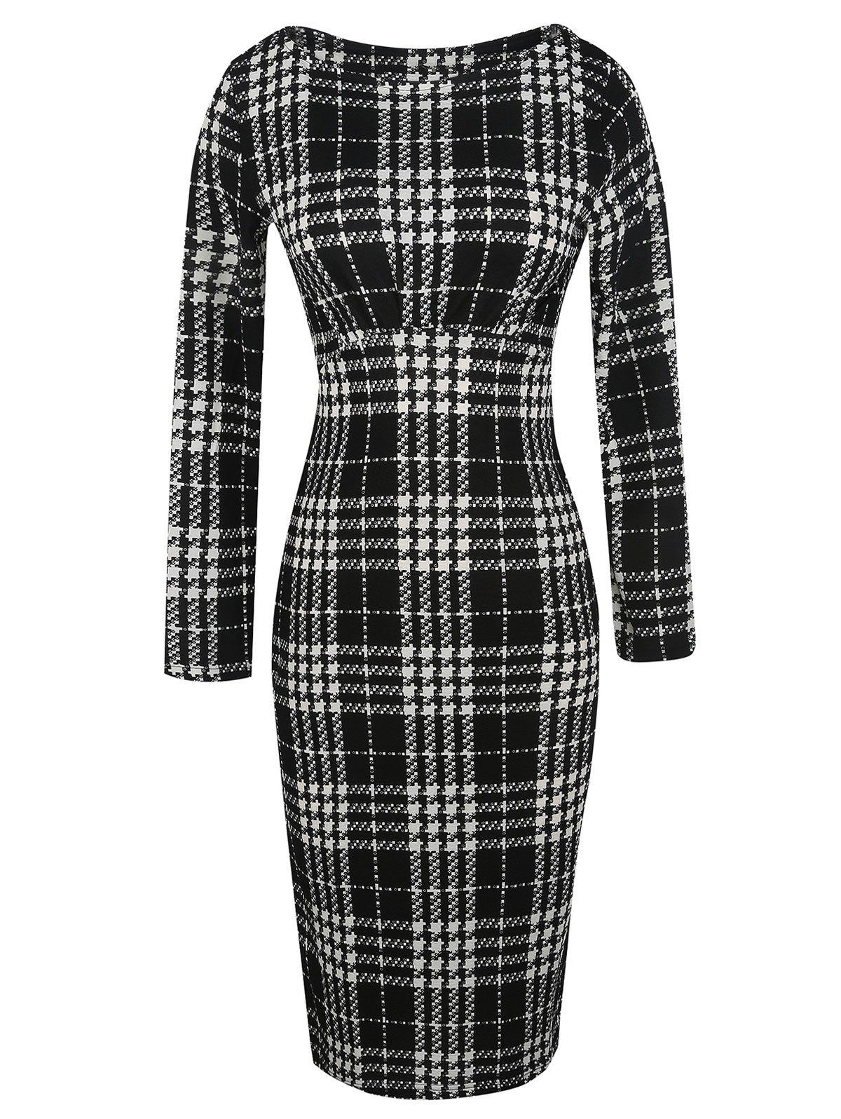 Fashion Check Fitted Bodycon Dress