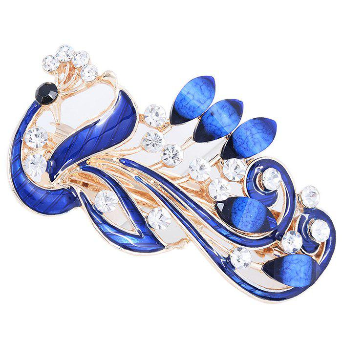Trendy Peacock Pattern Embellished Hair Clip