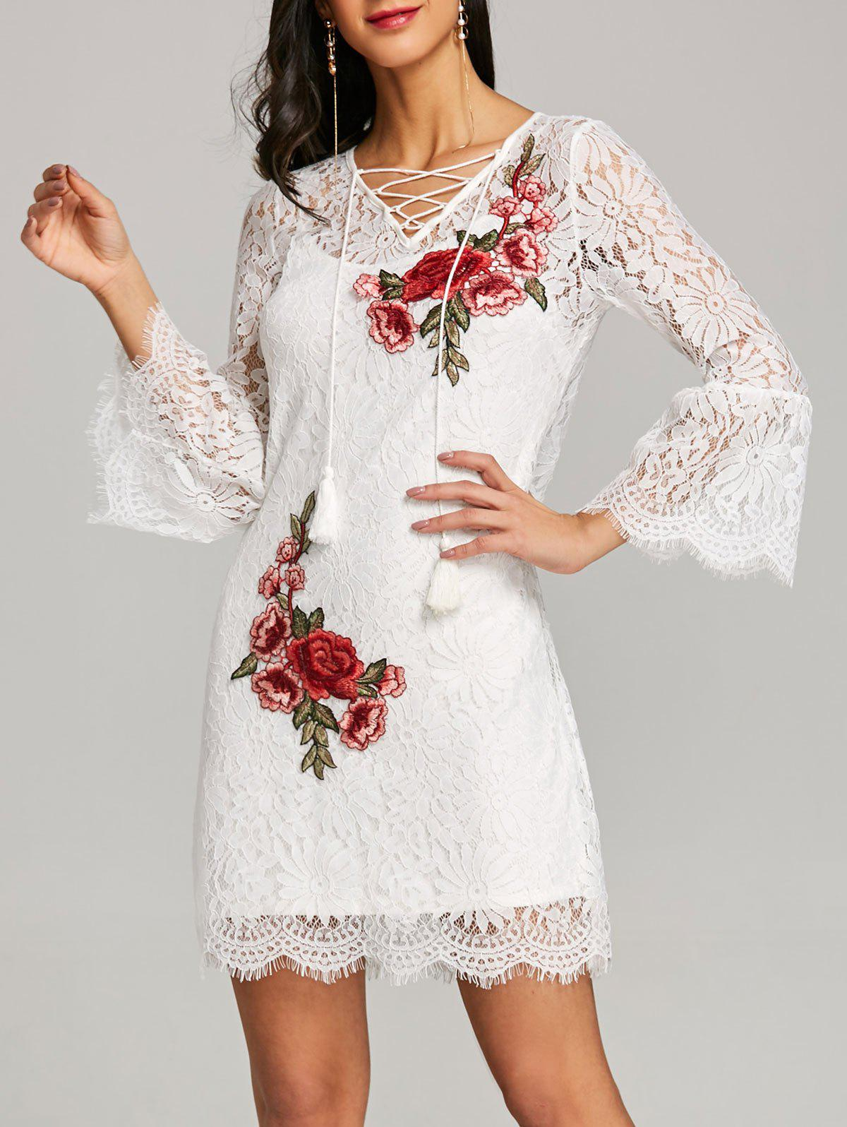 Trendy Bell Sleeve Fitted Lace Dress with Slip Dress