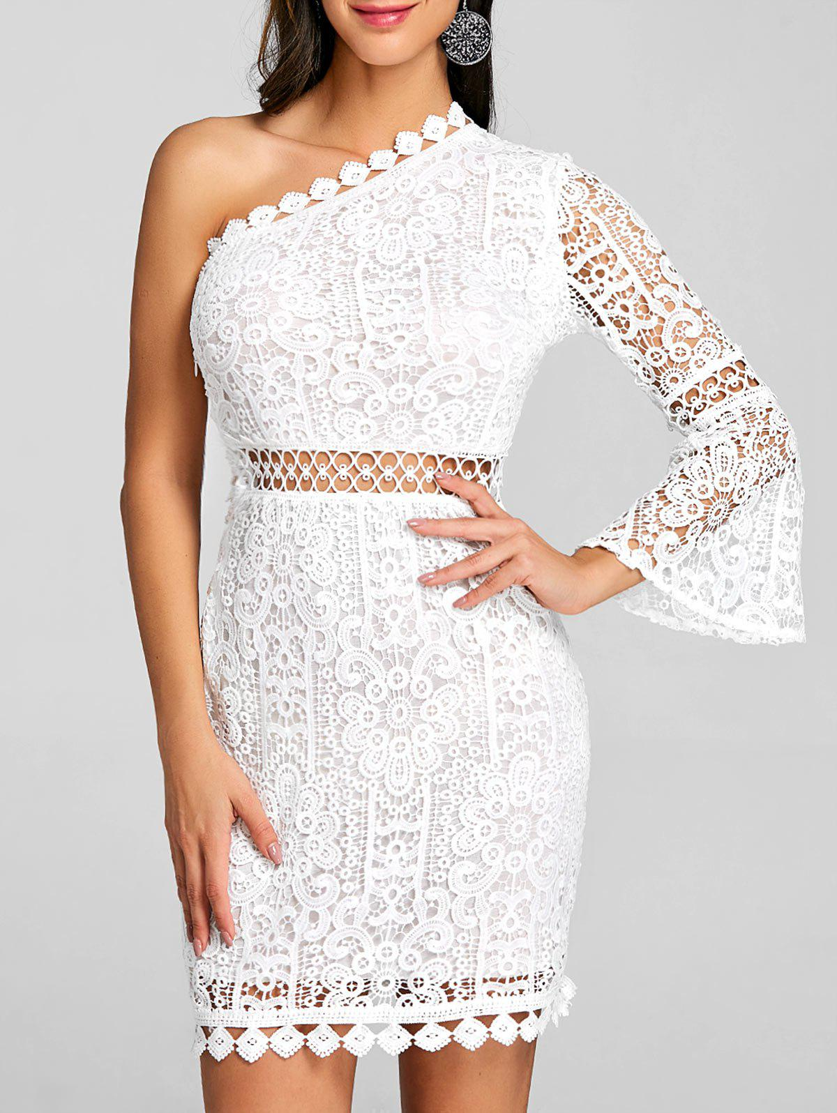 Fancy One Shoulder Flare Sleeve Lace Dress