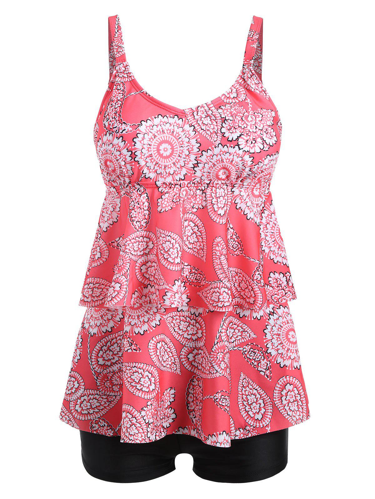 Fashion Tier Flounce Plus Size Floral Tankini Set