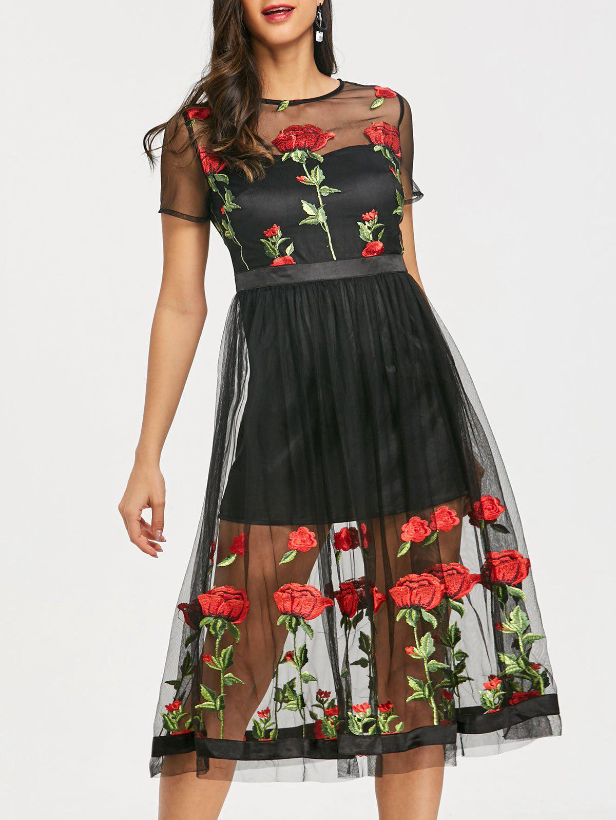 Online See Thru Embroidery Floral Tulle Dress