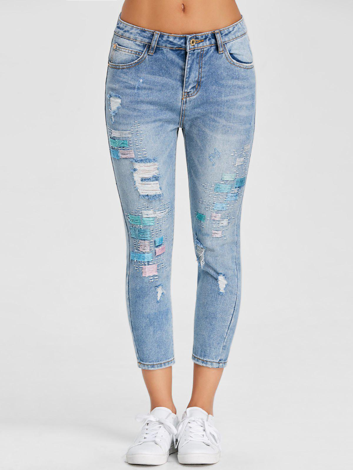 Chic Embroidery Skinny Ripped Jeans