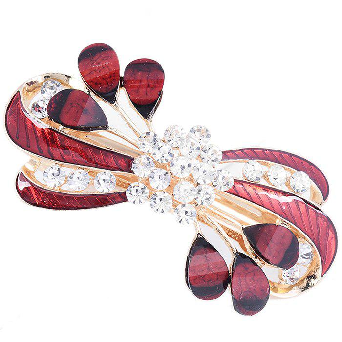 Fancy Rhinestone Leaves Pattern Embellished Barrette