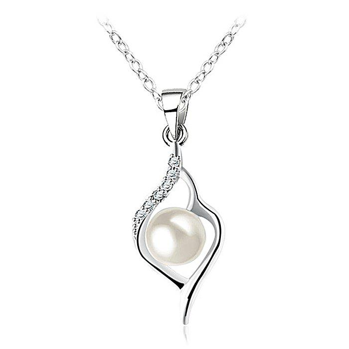 Affordable Faux Pearl Rhinestone Collarbone Necklace