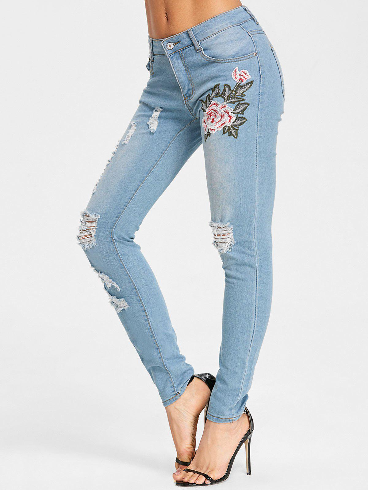 Cheap High Waisted Embroidered Ripped Jeans