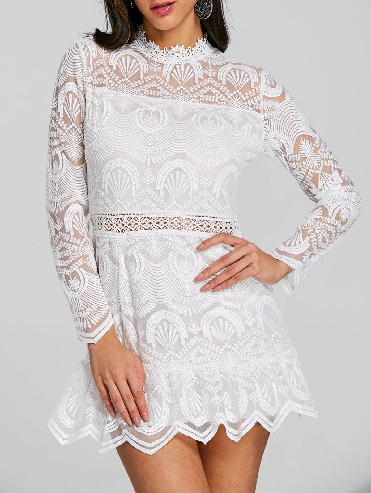 Discount Long Sleeve Scalloped Lace Mini Dress