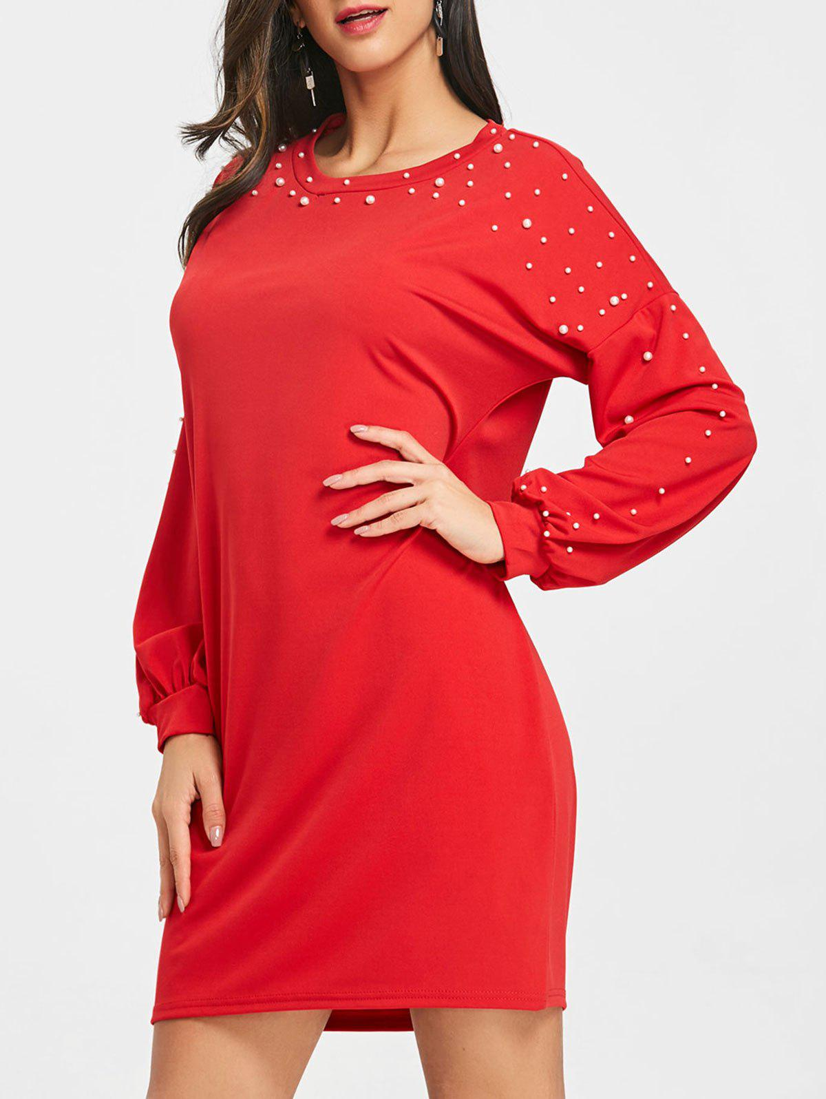 Cheap Faux Pearl Embellished Long Sleeve Dress