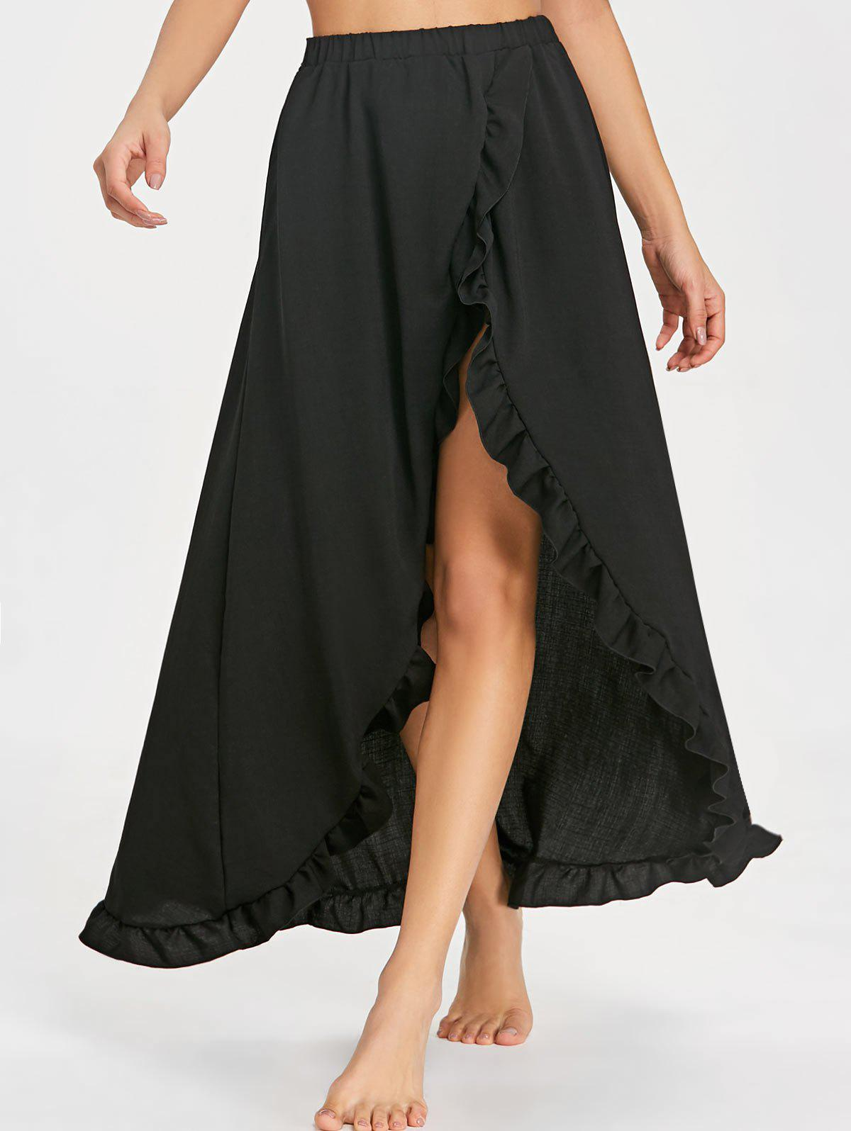 Chic Ruffle Floor Length Tulip Skirt