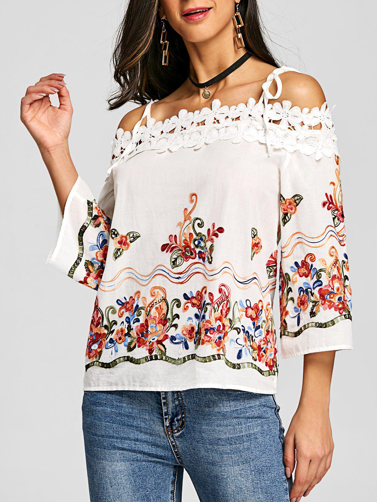 Outfit Applique Embroidered Open Shoulder Blouse