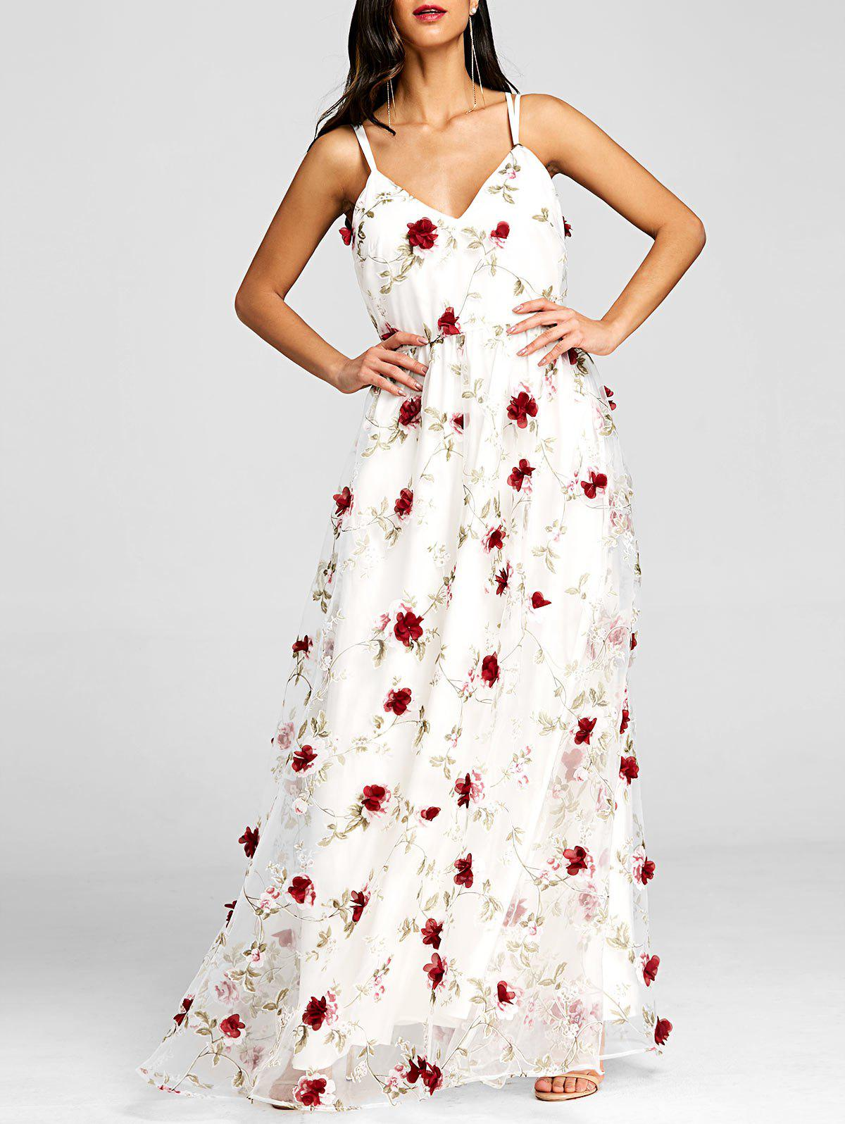 Trendy Stereo Floral Maxi Flowing Dress