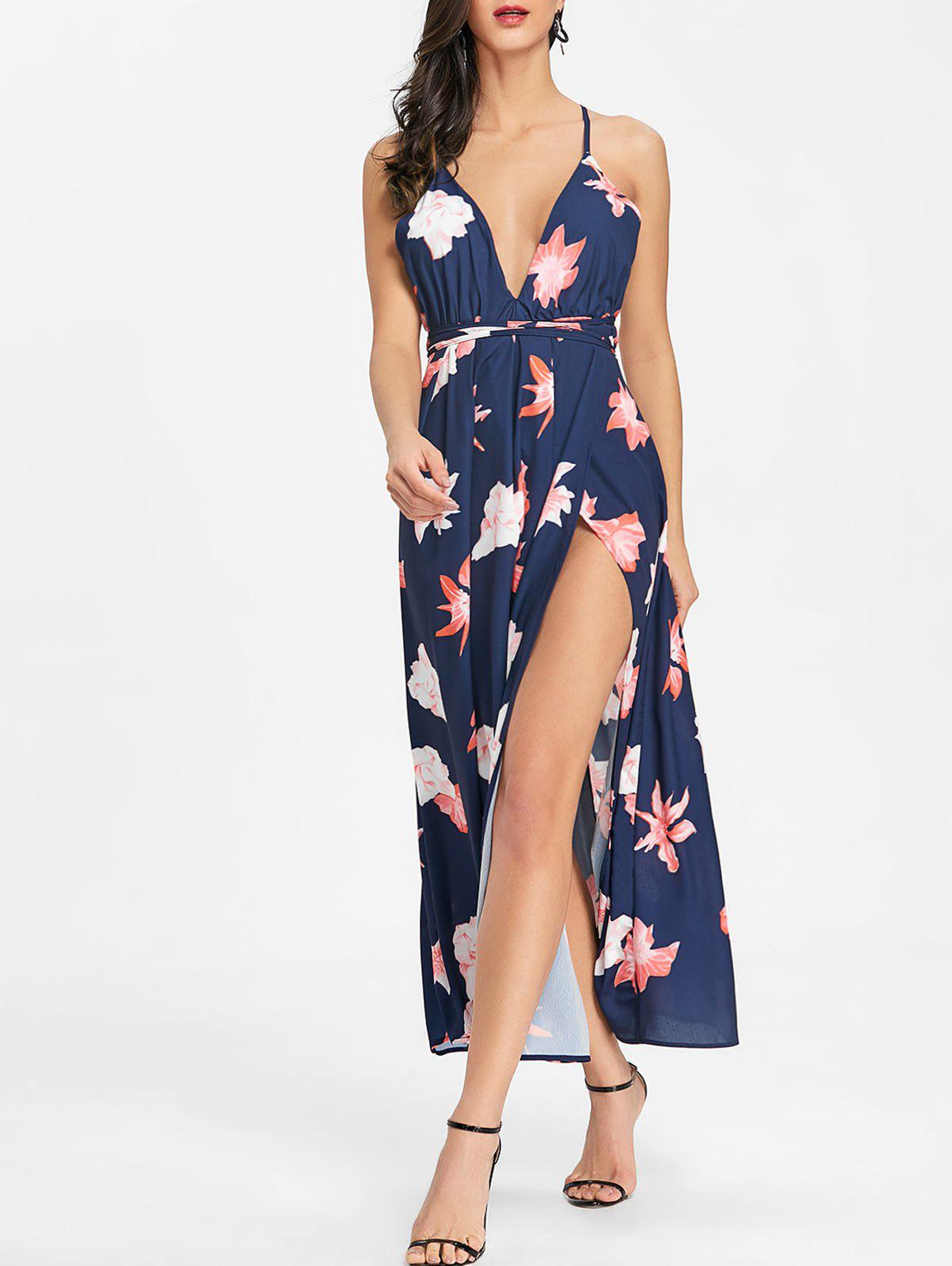 Outfit Flower Print Backless Cami Dress