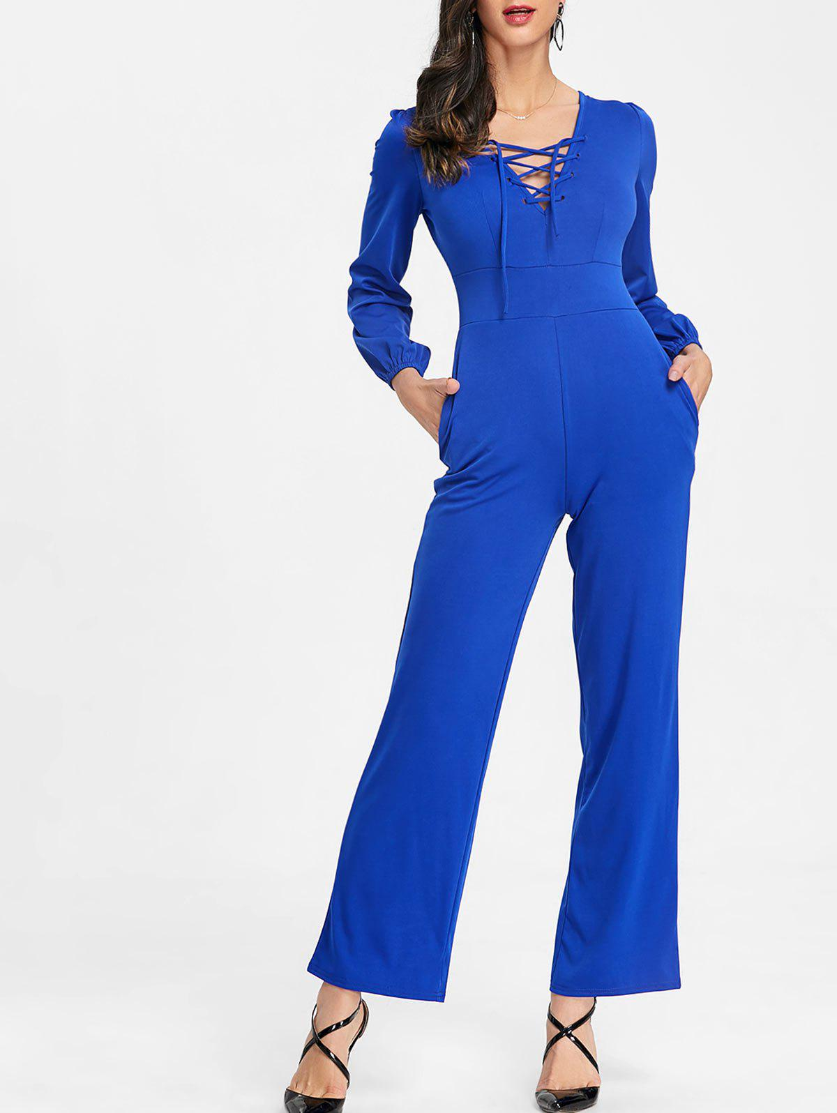 Shop Lace Up Wide Leg Jumpsuit