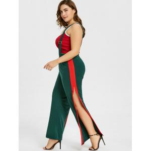 Plus Size Two Tone Wide Leg Suspenders Pants -
