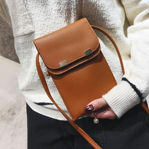 Stitching Minimalist Flapped Cellphone Crossbody Bag -