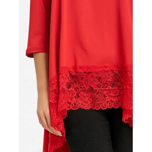 Lace Trimmed High Low Blouse -