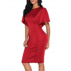 Short Bell Sleeve Knee Length Bodycon Dress -