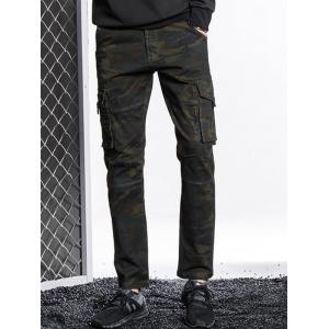 Button Pockets Slimming Camouflage Cargo Pants -