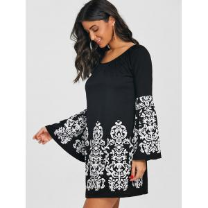 Flare Sleeve Boat Neck Ethnic Print Dress -